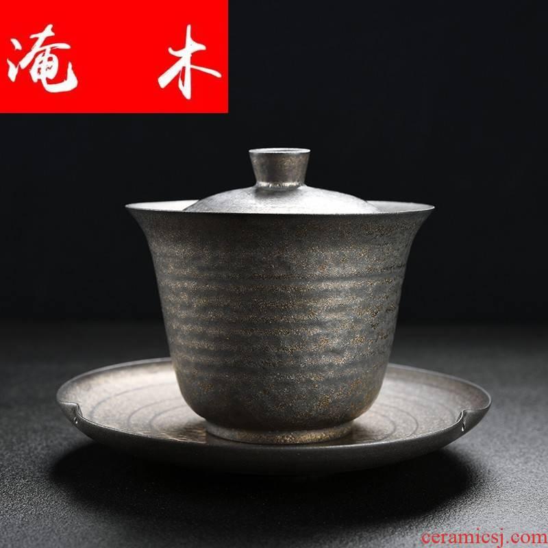 Submerged wood tureen rust glaze three cups to make tea tureen large ceramic device kung fu tea set