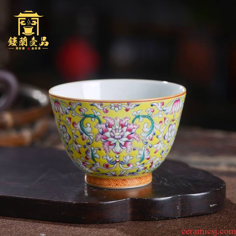 Jingdezhen ceramic all hand made enamel colors branch lotus masters cup from the individual single cup sample tea cup tea cups