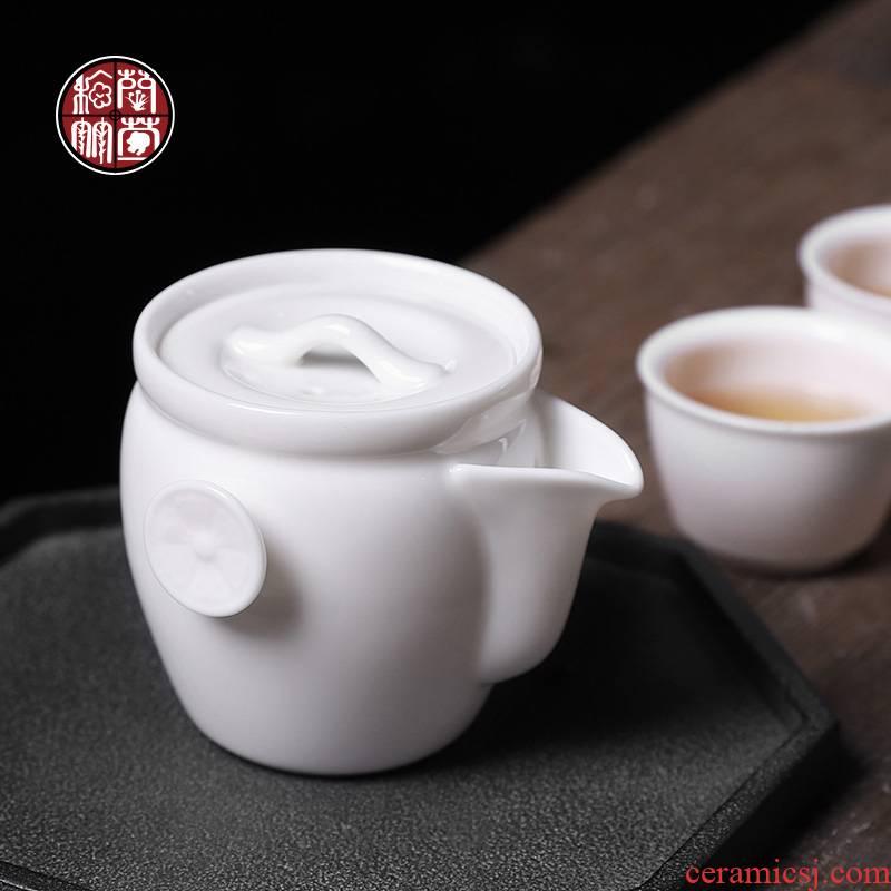 Dehua white porcelain suet jade porcelain teapot single pot of small hand ears teapot ceramic filter Japanese hand grasp pot