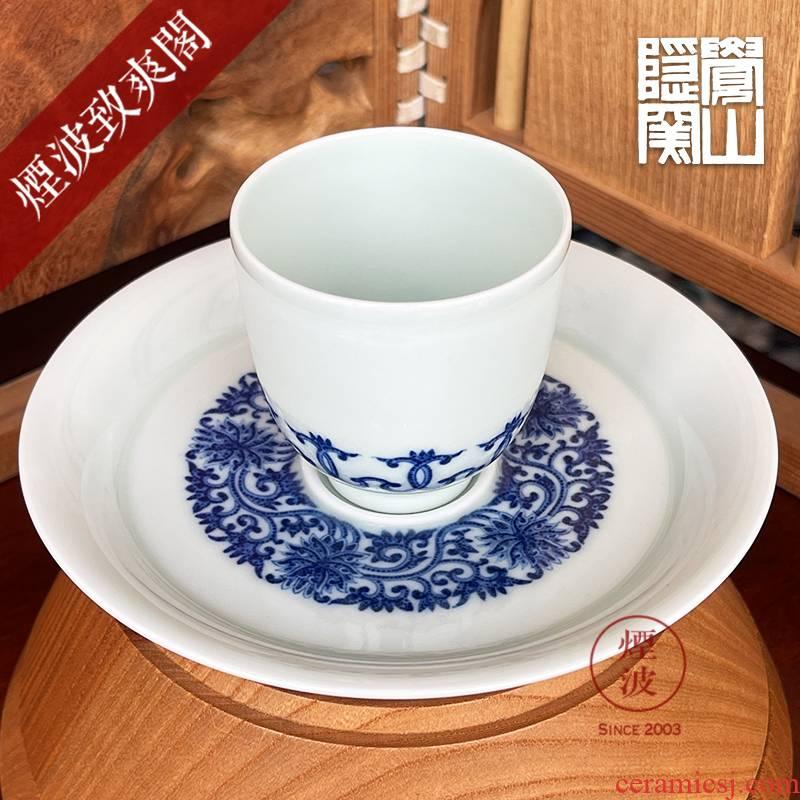 Jingdezhen sleep mountain hidden up porcelain imitation kangxi Ding You com.lowagie.text.paragraph branch lotus lines set of CPU