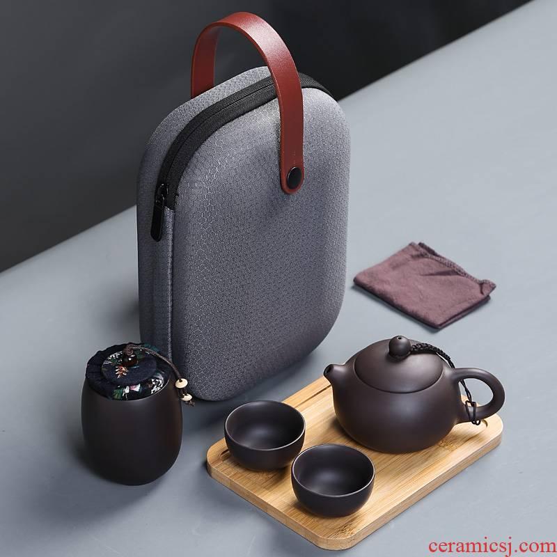 Portable travel tea set a crack cup pot 2 cups of violet arenaceous is suing tourism kung fu tea set gift customization