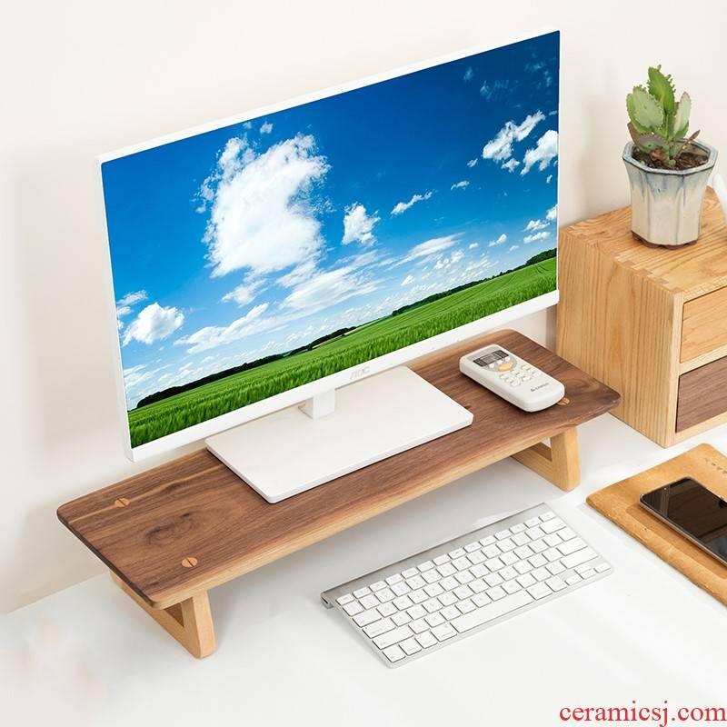 Who real wood desk frame display screen base receives the box shelf desktop computer up