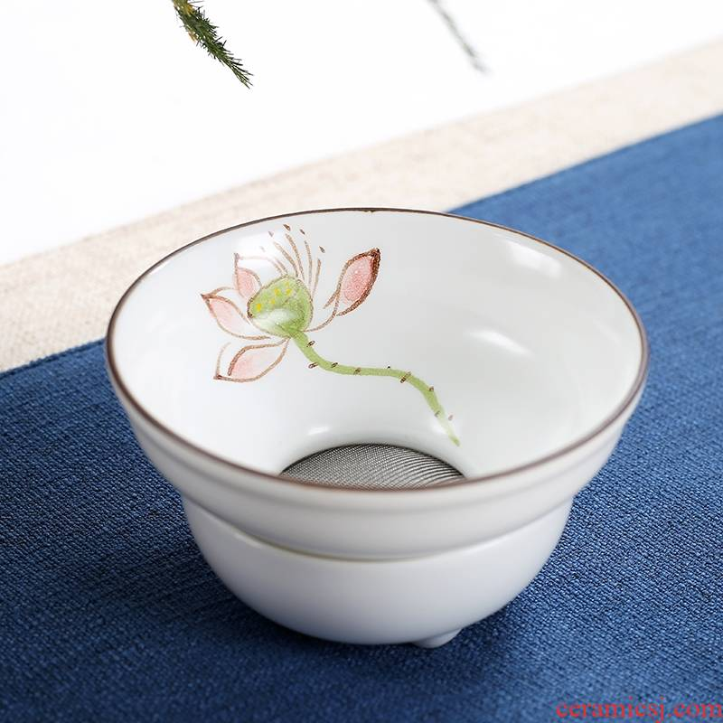Qiao mu three coarse pottery) inferior smooth hand make tea tea tea every filter mesh kung fu tea accessories