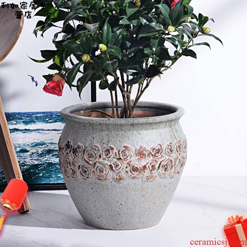 Rose flower pot ceramic large clearance high basin to heavy rich clay POTS to restore ancient ways air garden to plant trees living room floor