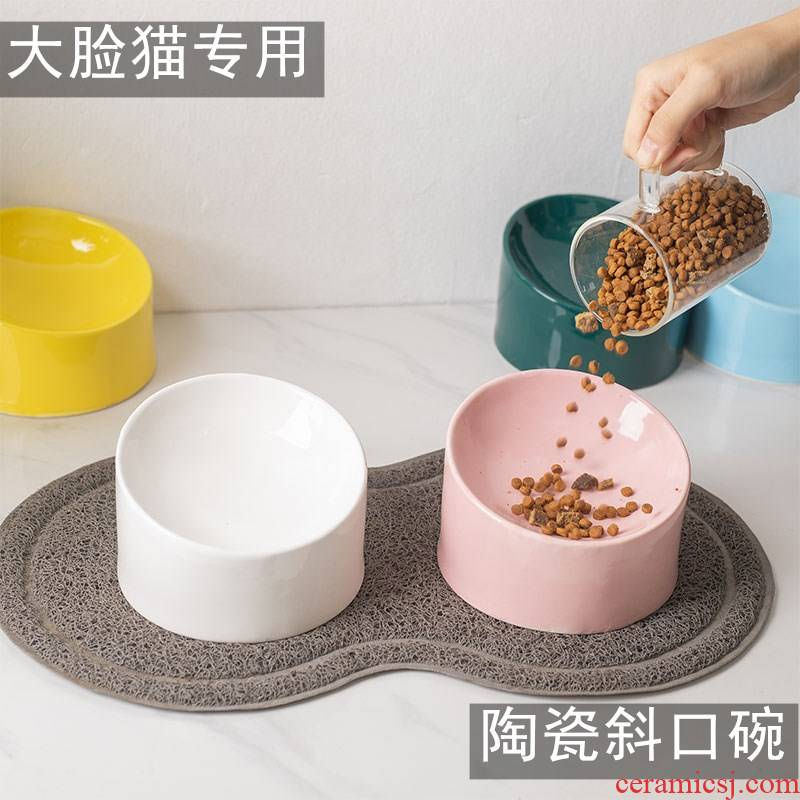 Ceramic protect cervical special big face the cat cat cat bowl oblique expressions using shallow expressions using cat food tilt basin bowl bowl dog bowl