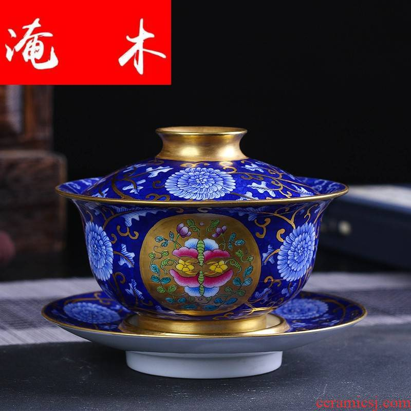 Flooded wood jingdezhen blue and white paint by hand only three bowl of enamel colored powder was filed in tureen bowl tea tea mercifully