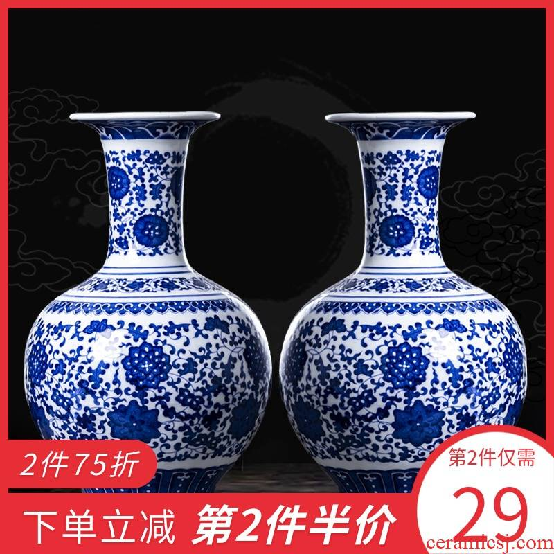 Jingdezhen blue and white porcelain of modern Chinese style household ceramics vases, flower arrangement furnishing articles rich ancient frame sitting room adornment