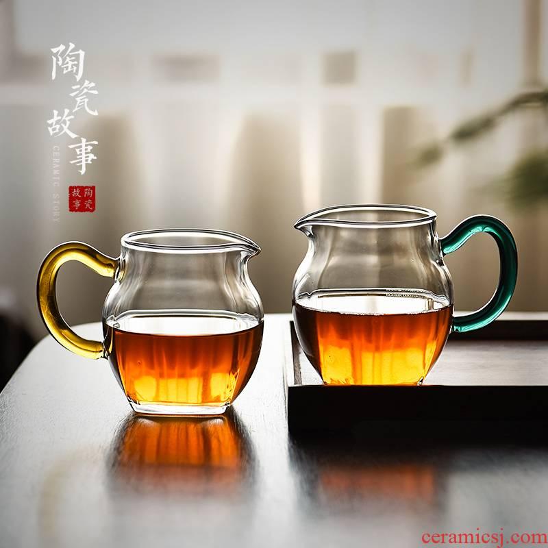 Ceramic fair story glass cup more Japanese high - end tea kelp handle a single male cup tea tea set points