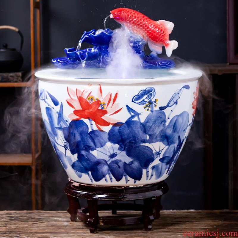 Jingdezhen ceramic goldfish bowl sitting room balcony floor office home furnishing articles circulating water courtyard big fish tank