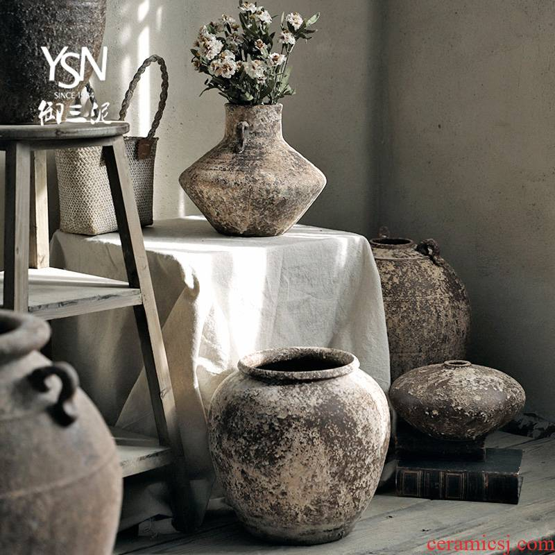 Royal three clay ceramic plug-in dry flower pot of new Chinese style household furnishing articles vase coarse pottery wabi-sabi wind restoring ancient ways POTS of home stay facility