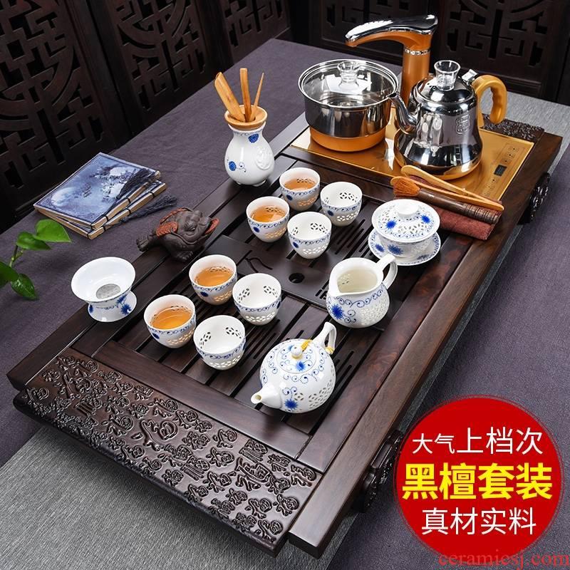 Qiao mu ebony wood tea tray tea set a complete set of automatic electric ceramic purple sand cup kung fu tea stove