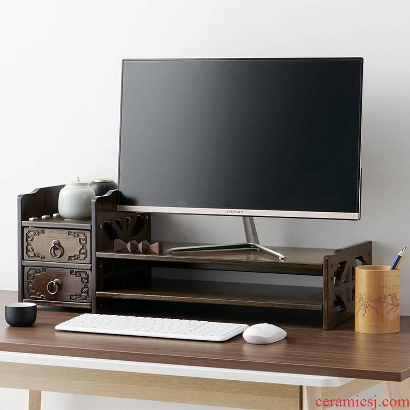 Heighten of archaize desktop computer desk wearing pad high bracket the receive base solid content display screen