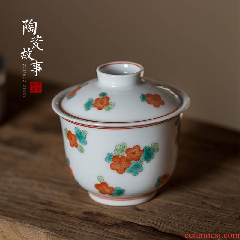 High - end checking hand - made ceramic story town tureen only three tureen green color yellow flower ChanHong tureen