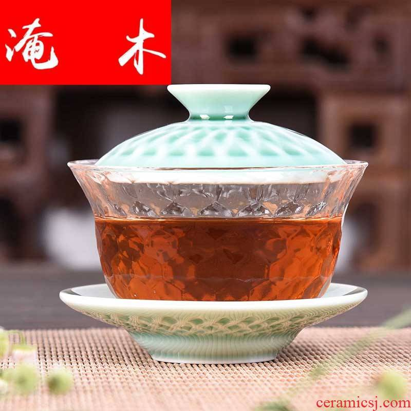 Submerged wood, ceramic only three tureen kung fu tea set household glass bowl large Japanese contracted the teapot tea accessories