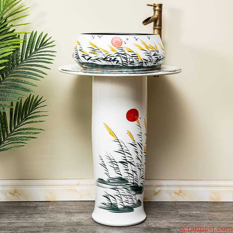 Ceramic basin bathroom floor for wash one post a whole pool of household balcony column type lavatory 8