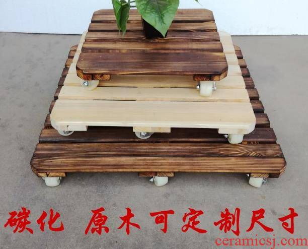 Flower pot tray was solid wood thickening belt pulley aquariums box base roller can be wood receptacle pot pad