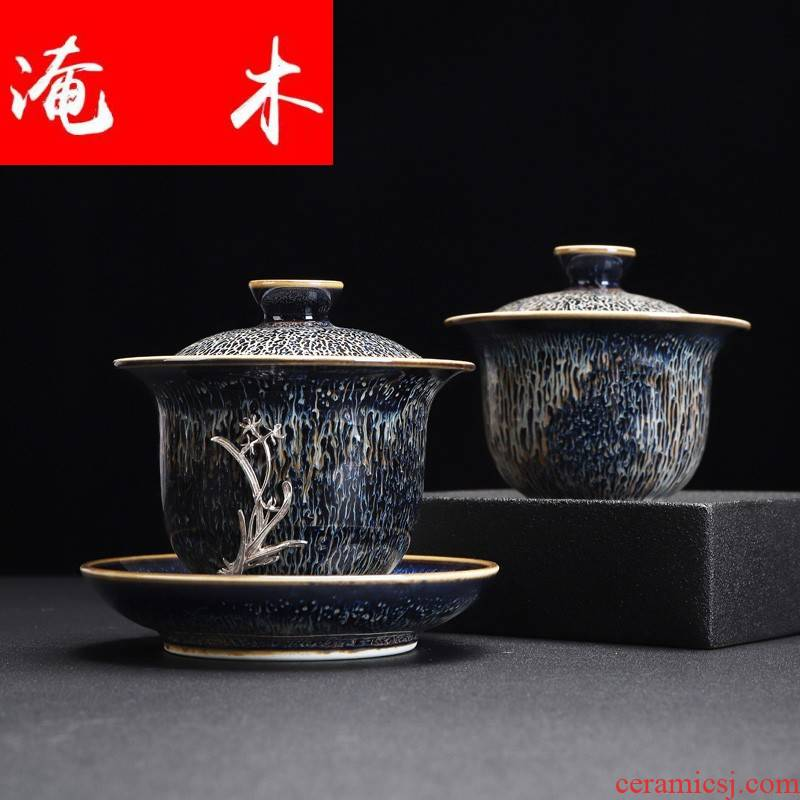 Submerged wood jingdezhen ceramic inlaid with silver GaiWanCha device only three cup tea bowl of kung fu tea accessories tea for 1