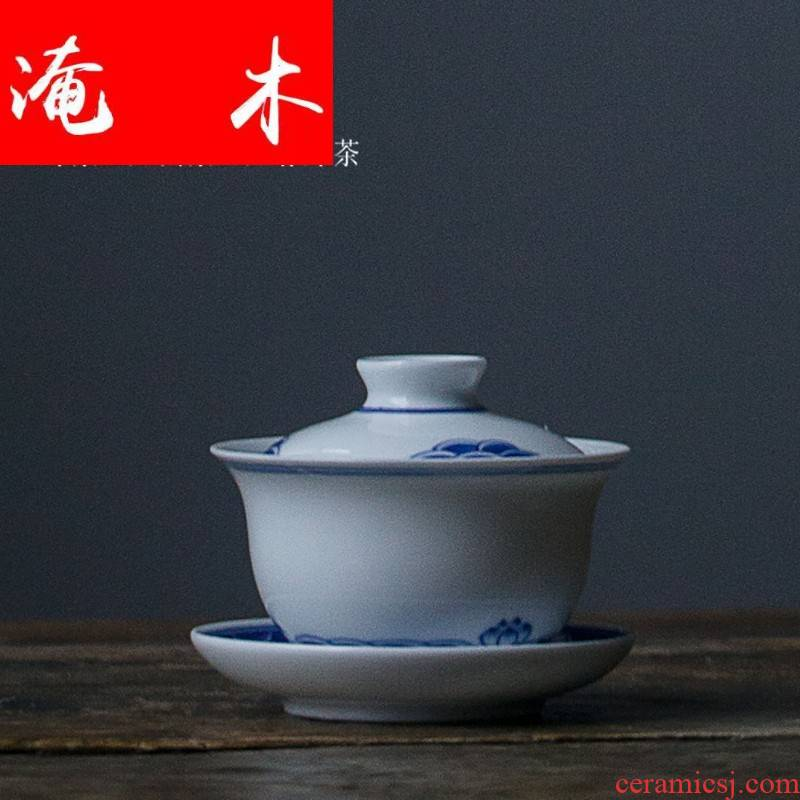 Submerged wood jingdezhen blue and white porcelain tureen large ceramic cups tea bowl of kung fu tea set three tureen