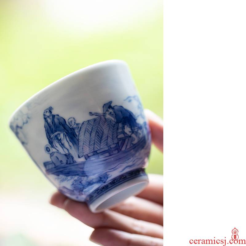 Xiao bamboo up the vigil at the red cup of jingdezhen blue and white master single hand - made ceramic cups cup kung fu tea set