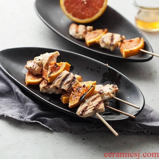 Qiao mu DY Japanese black sushi plate of creative household tableware ceramic fish dish plate long plate restaurant