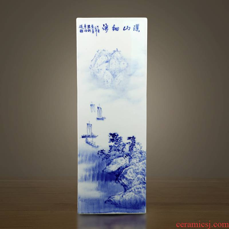 Jingdezhen blue and white landscape square bottle sword barrel hand - made ceramic vase painting and calligraphy home decoration furnishing articles adornment