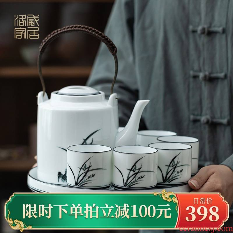 The Teapot, new hand - made orchid ceramic Teapot suit Chinese style style home filtration separation of tea pot
