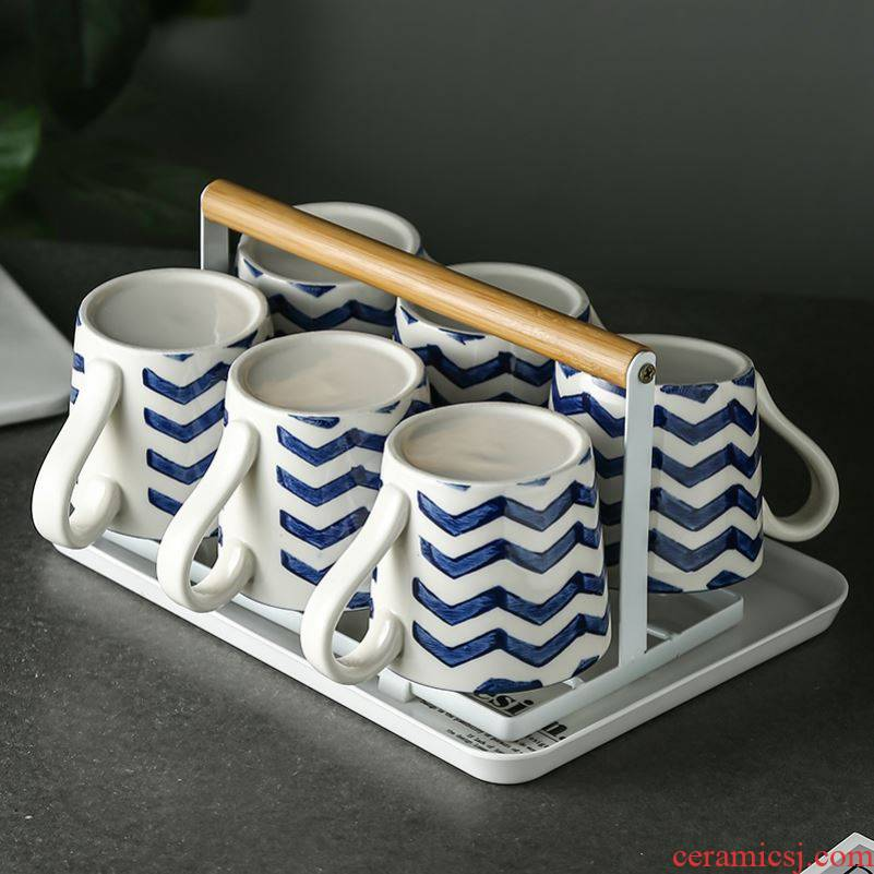 Hand - made ceramic Nordic mark cup to ultimately responds water suit crossover vehicle glass home sitting room 6 cups contracted with water