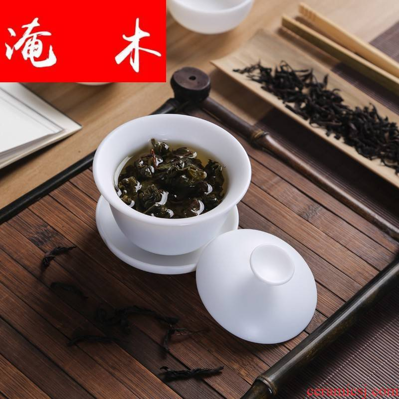 Submerged wood white porcelain tureen dehua inferior smooth three kunfu tea tureen suit only ceramic bowl with small hand grasp