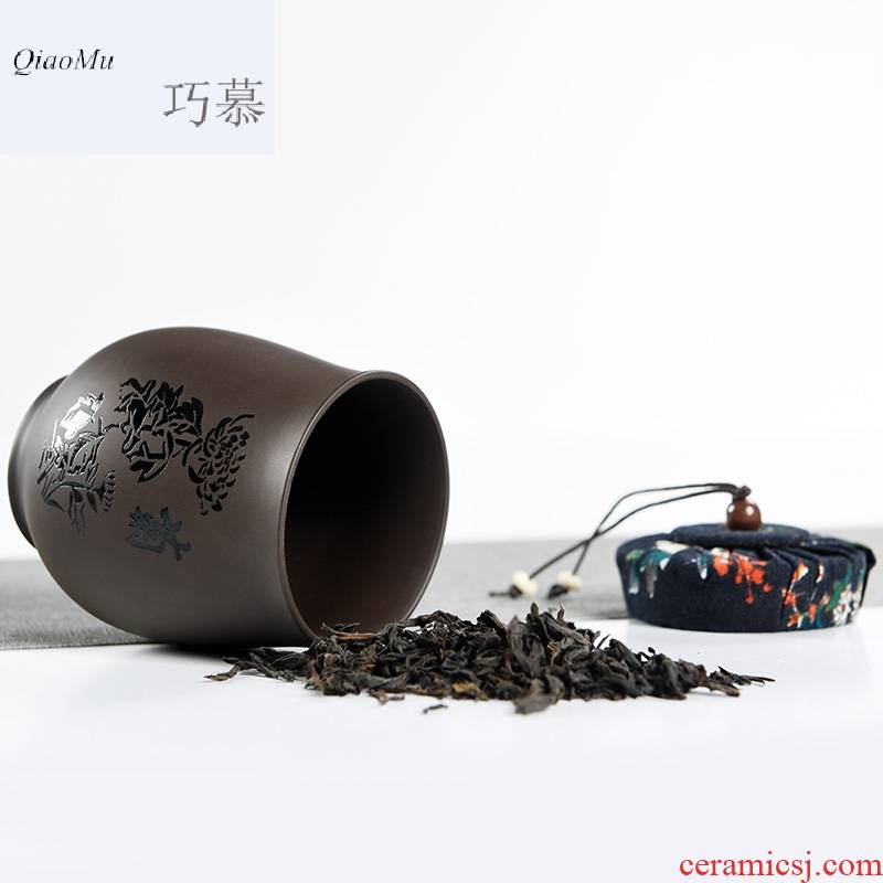 Qiao mu MG tea accessories violet arenaceous caddy fixings tea by patterns of household to restore ancient ways small sealed box