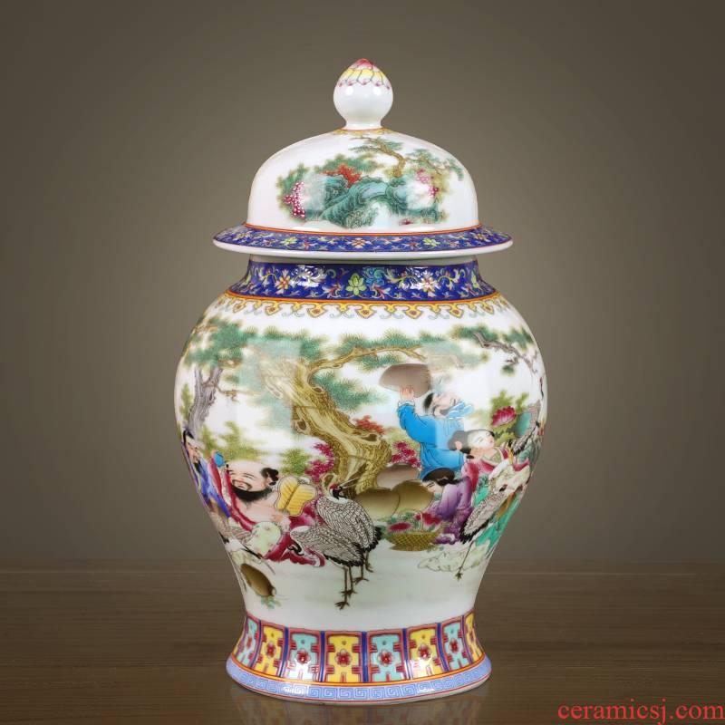 Jingdezhen porcelain tea pot home moistureproof large storage puer tea cylinder Chinese figure storage tank, the eight immortals