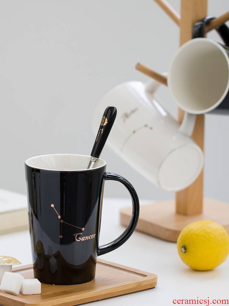Qiao mu the zodiac ceramic cup gift box set glass keller cup coffee cup with cover teaspoons of move