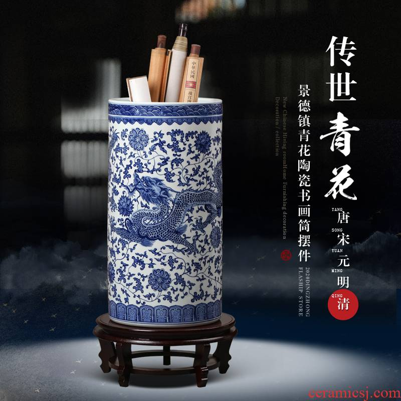 Blue and white porcelain of jingdezhen ceramics painting and calligraphy scrolls cylinder Chinese study ground adornment is placed large living room