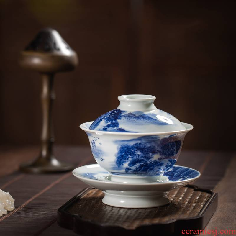 Tureen single hand - made scenery of jingdezhen blue and white only maintain three cup to burn large tea bowl of ceramic tea set