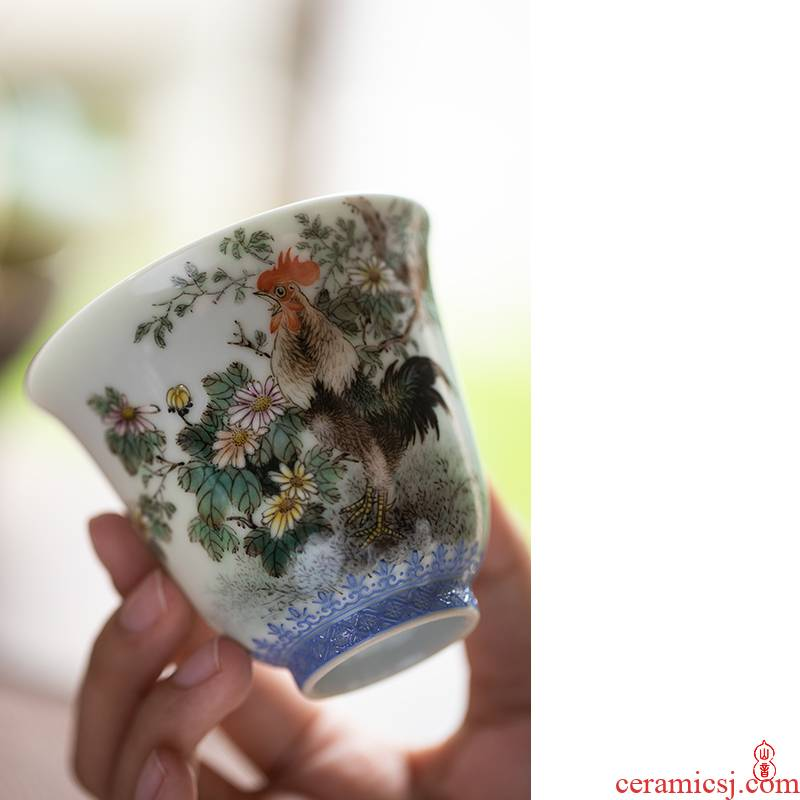 Wen - hua liu alum pastel chicken fine figure of jingdezhen ceramic cups manual master cup single cup sample tea cup