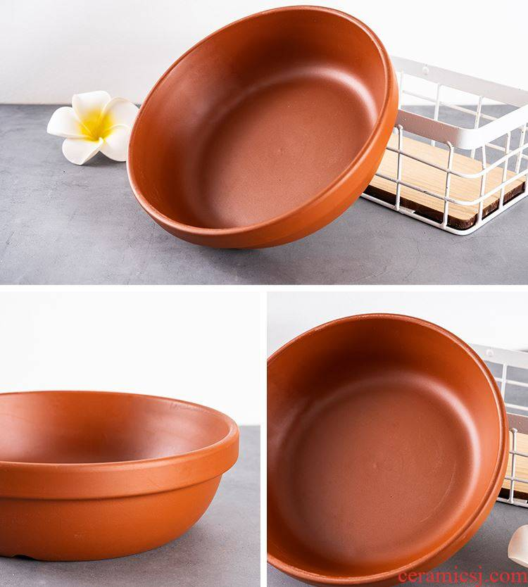 Violet arenaceous hydroponic flower pot without hole, creative bowl lotus pond lily household aquatic plant leaf lotus other copper wire grass flower pot