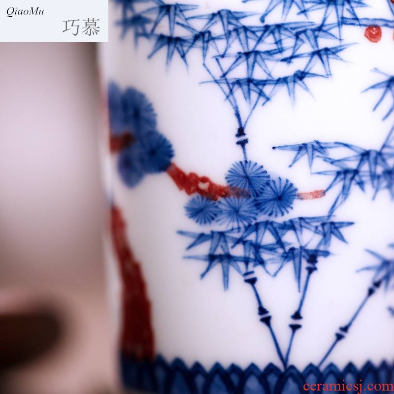 Qiao mu JYD blue - and - white youligong hand - made cup single CPU fragrance - smelling cup sample tea cup kung fu tea cups of jingdezhen ceramics by hand