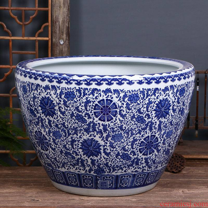 Jingdezhen blue and white porcelain lotus pond lily have a goldfish bowl large special garden birdbath sitting room balcony cylinder