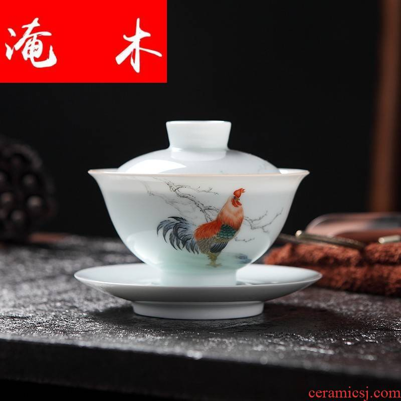 Submerged wood tureen ceramics jingdezhen porcelain hand - made kung fu tea bowl checking ceramic large three only