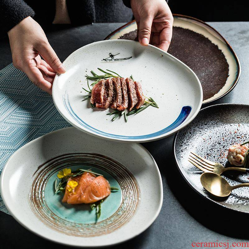 Steak dish food dish Nordic creative web celebrity light much tableware ceramic plate pasta dish food dish dish disc