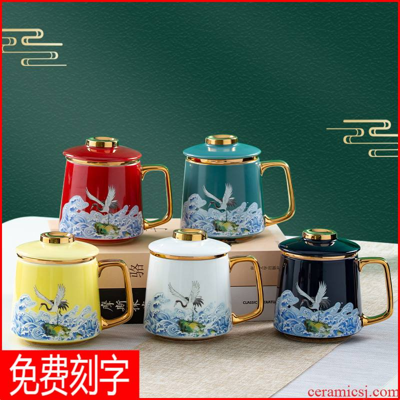 Chinese pottery and porcelain mugs) office tea separation personal special filter glass tea cup men and women