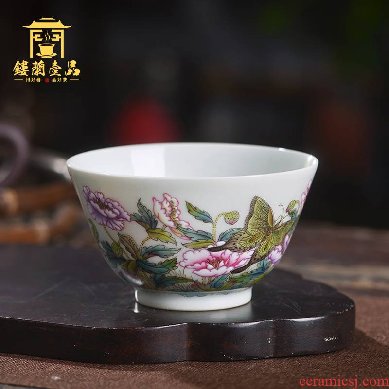 Jingdezhen ceramic all hand - made pastel recent master cup kunfu tea tea utensils cup personal single cup of tea