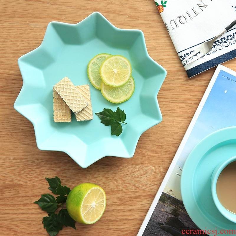 Qiao mu CDW Japanese color frosted inferior smooth star ceramic breakfast all the dish plate PZ - 32