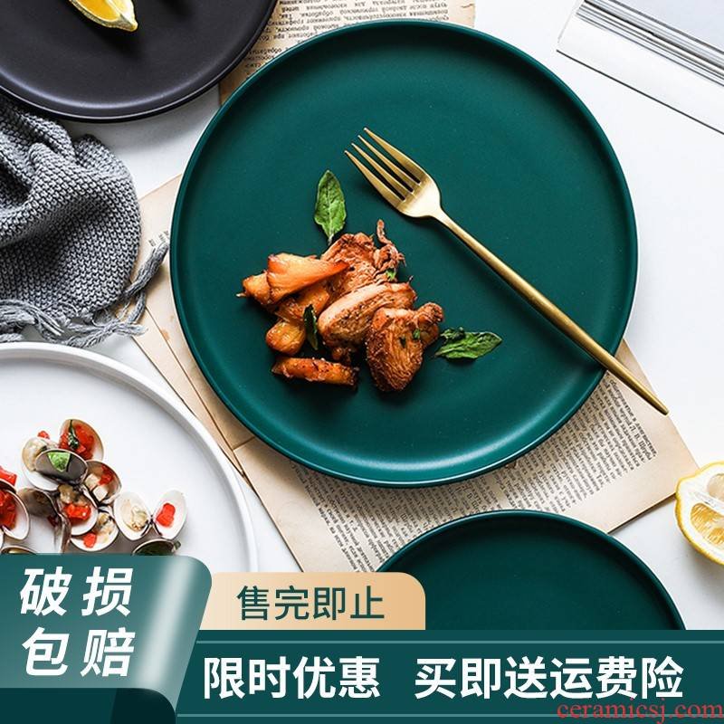 The Nordic idea ceramics steak web celebrity light and decoration plate ins western - style food dish dish tray was breakfast tray