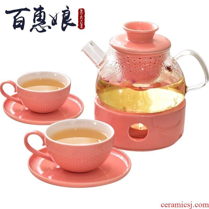 (niang European rural fruit flower pot heating with heat resistant ceramic tea with glass fruit of a complete set of filters