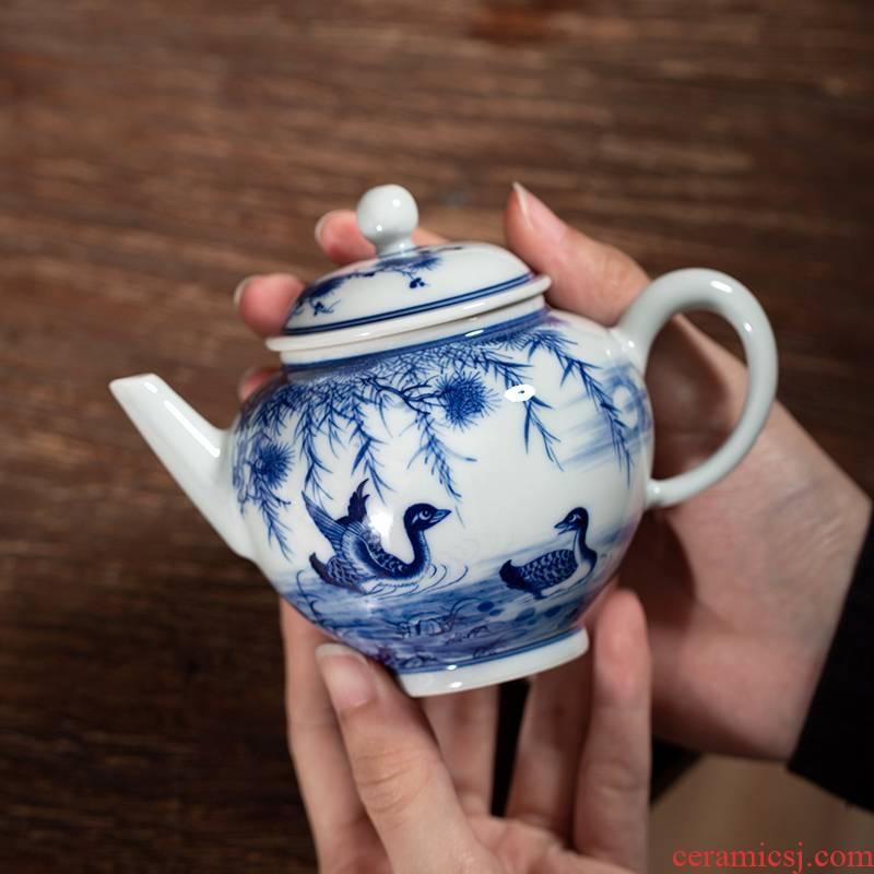 Clock home up ceramic teapot single pot teapot jingdezhen porcelain manually maintain a single tea sets, small household