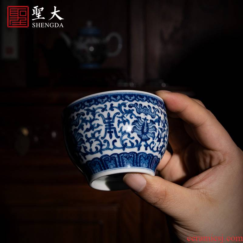 """Holy big ceramic cups of jingdezhen blue and white """"extended"""" cylinder manual hand - made tea sample tea cup kung fu tea cups"""