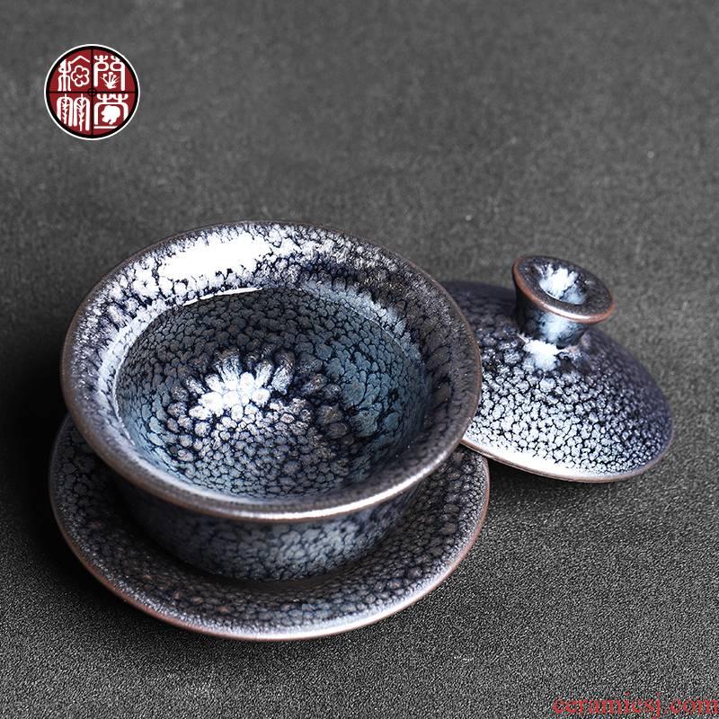 Tea tureen single jianyang firewood flowers built lamp tureen retro ceramic cups tire iron Tea bowl of the big three