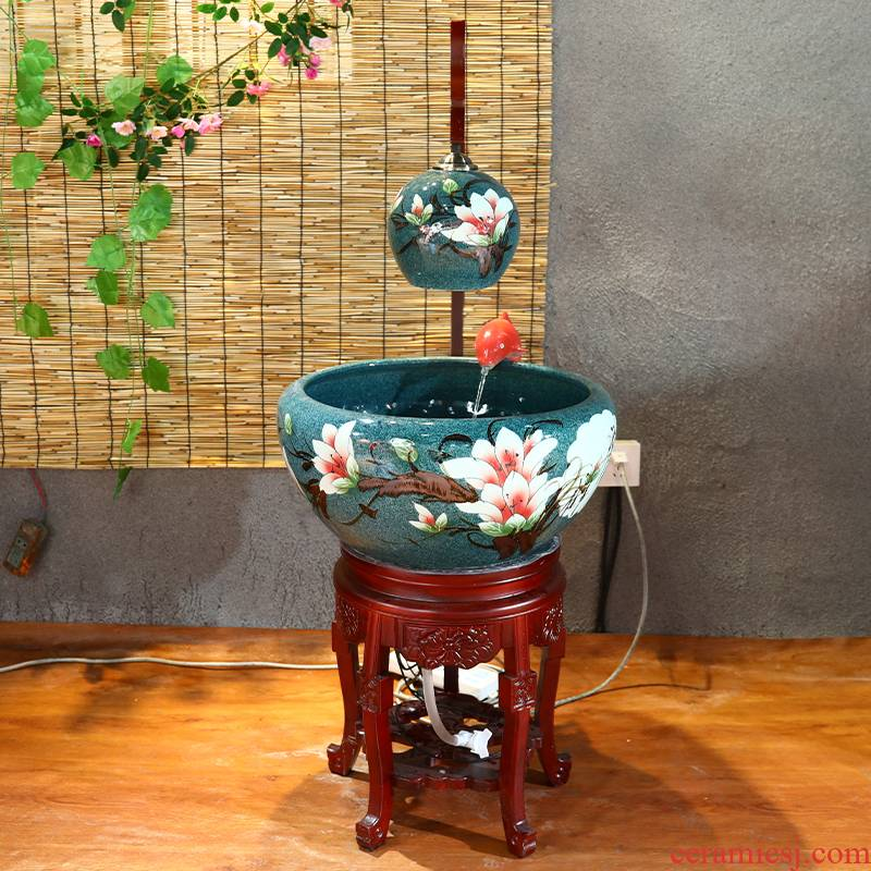 Package mail automatic cycle of jingdezhen ceramics filter water cabinet with lamp tank sitting room adornment fish basin furnishing articles