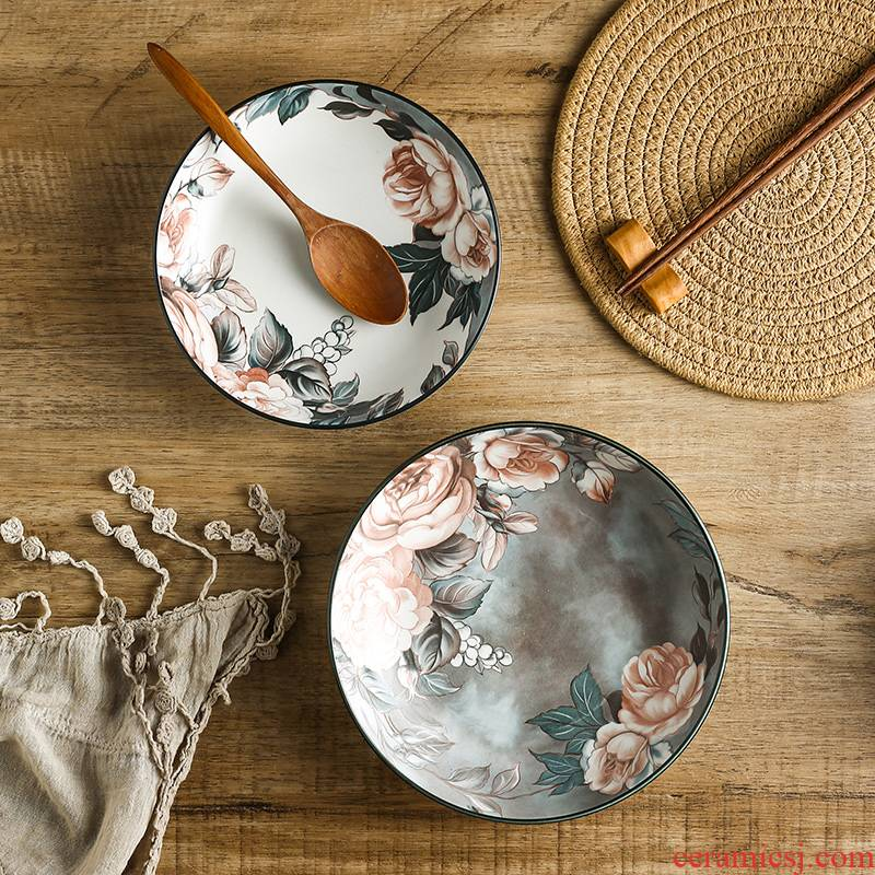 Wind restoring ancient ways of pottery and porcelain tableware plate deep circular expressions using cooking Japanese 7 inch 8 medium household under the glaze color can be a microwave