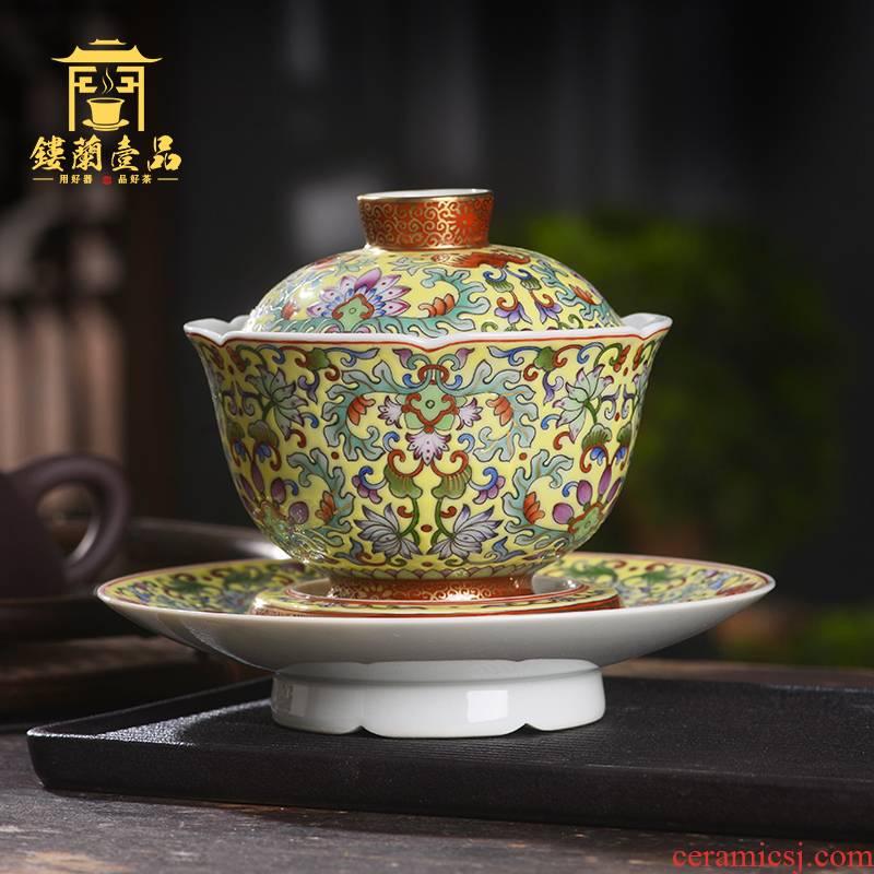 Jingdezhen ceramic hand - made enamel yellow tie up lotus flower only three tureen teacups large household take tureen tea bowl